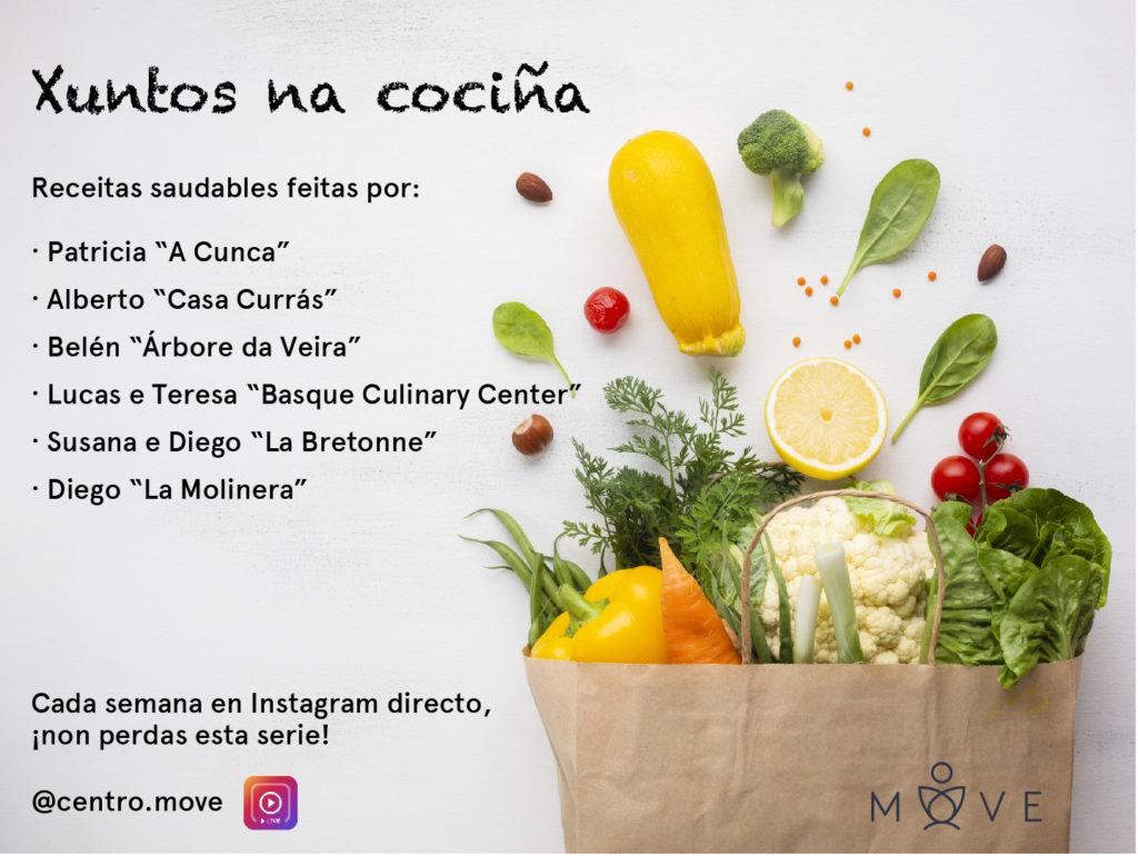 """Cartel informativo sobre la iniciativa en torno a la cocina saludable """"Xuntos na cociña"""", de Centro Move"""